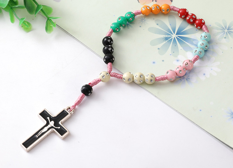 Colorful plastic 8mm beads finger rosary